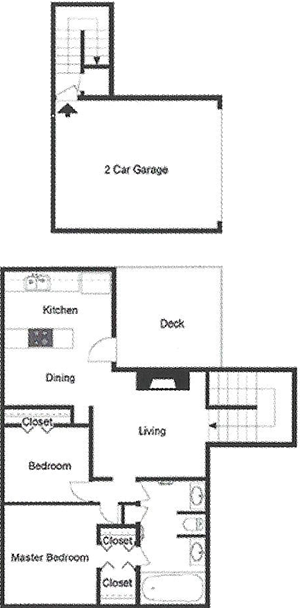 B3 Two Bedroom / One Bath / Garage / Deck - 1,000 Sq. Ft.*