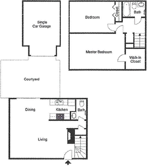 B4 Two Bedroom / One and Half Bath / Courtyard / Garage - 1,012 Sq. Ft.*