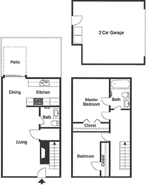 B6 - Two Bedroom / One and Half Bath / Garage / Patio - 1,012 Sq. Ft.*