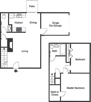 B5 Two Bedroom / One and Half Bath/ Garage / Patio - 1,012 Sq. Ft.*