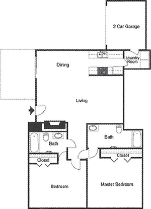 B2 Two Bedroom / Two Bath / Garage - 964 Sq. Ft.*